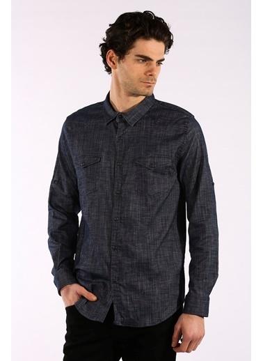 Rodrigo Erkek Siyah Çift Cep Kapaklı Jean Gömlek Lacivert